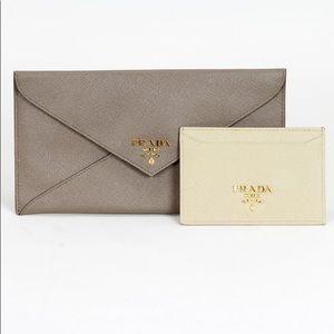 "Prada Light Grey Wallet New 4"" tall by 8"" wide"